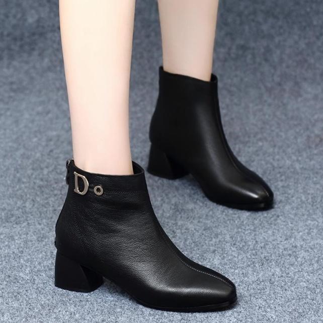 Giày Bốt Nữ Cổ Lửng Da PU Đế Vuông 5cm H84 giá rẻ
