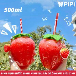 Bình Đựng Nước Cầm Tay 500ML Hình Dâu Tây Kèm Ống Hút Nhựa, Tiện Lợi Cho Mùa Hè Nóng Nực, Hàng Hot Trend 2021 thumbnail