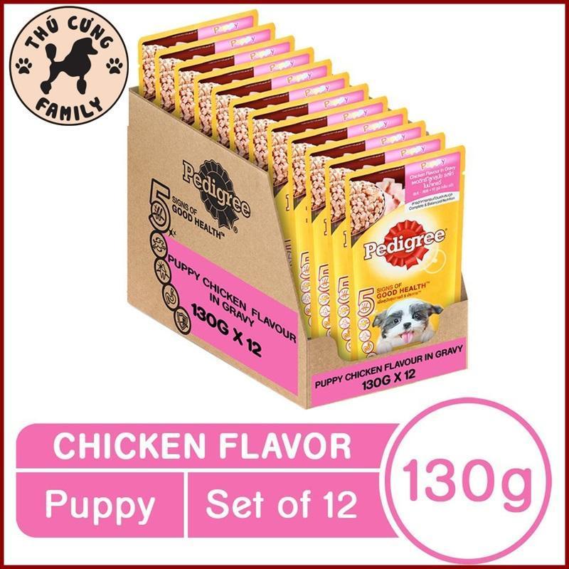 COMBO 12 gói Sốt Gà Pedigree Chó con. Giúp hệ thống tiêu hóa tốt. 130g/ gói.