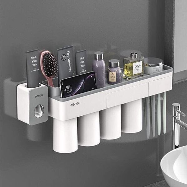 Bộ Nhả Kem Oenon, Kệ Nhà Tắm Thông Minh, Giá để đồ phòng tắm dính tường, Kệ Cốc hút từ tính tiện lợi - BH 1 Đổi 1
