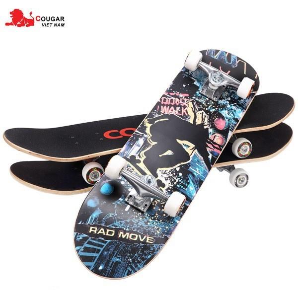 Giá bán Ván Trượt Skateboard, Ván Trượt Thể Thao Người Lớn, Trẻ Em Kích Thước 70/80x25x10 Cỡ Lớn Gỗ Ép 8 Lớp Chịu Lực Lên Tới 80kg Trục Kim Loại Chắc Chắn Kết Hợp Bánh Cao Su PU Độ Bền Cao, An Toàn Khi Sử Dụng Bảo Hành 12 Tháng