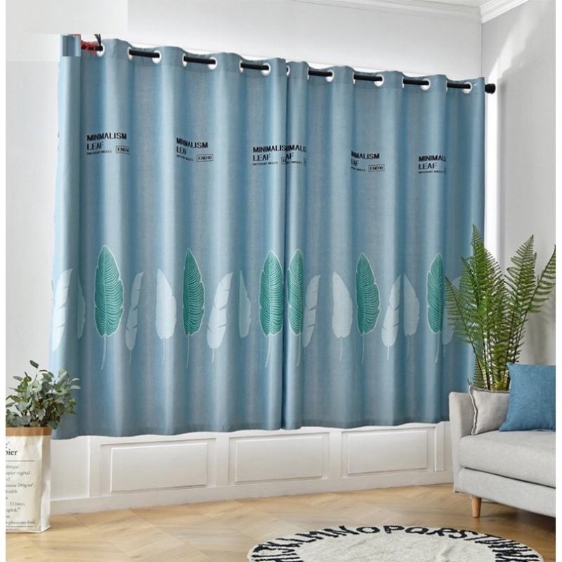 Rèm vải dày cao cấp ( có sẵn khoen tròn ) - lá chuối nền xanh