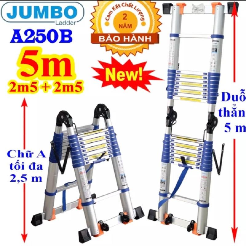Thang nhôm rút đôi JUMBO A250B NEW 2020 - Chữ A 2,5m duỗi thẳng 5m Đai xanh - tải trọng 300kg