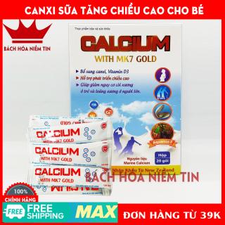 Canxi sữa tăng chiều cao cho bé CALCIUM With MK7 Gold - Canxi từ tảo biển, nhập khẩu New Zealand dùng hiệu quả cho trẻ từ 6 tháng tuổi - hộp 20 gói chuẩn GMP thumbnail