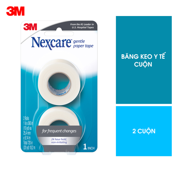 Băng keo y tế cuộn mềm mại Nexcare 3M 781-2PK 1 inch vỉ 2 cuộn