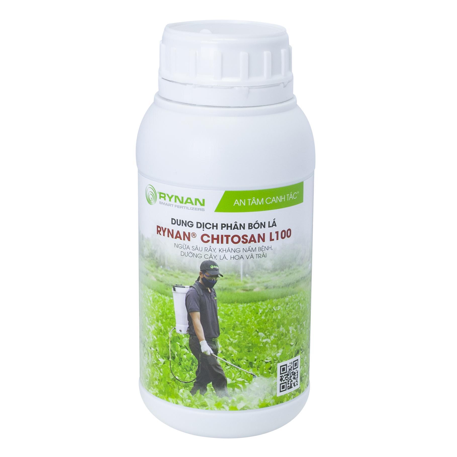 Phân bón lá chứa chitosan Rynan Chitosan L100 (500ml/chai) - Ngừa sâu rầy, kháng nấm bệnh, dưỡng cây, lá, hoa và quả