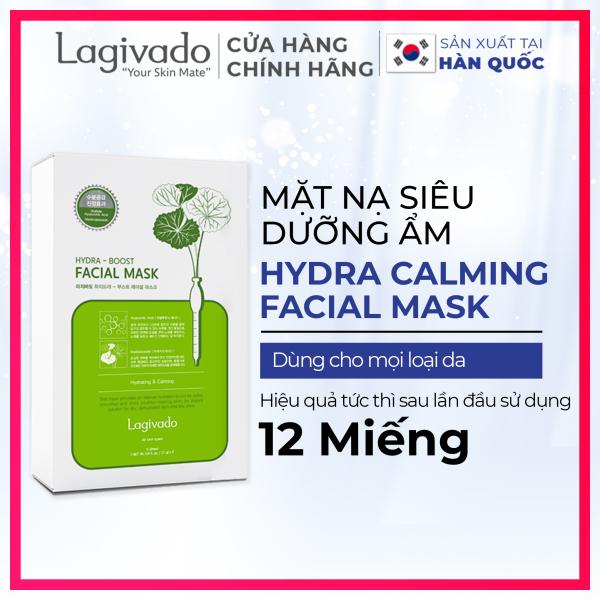 Combo 12 Mặt nạ dưỡng da trắng sáng Hàn Quốc chính hãng Lagivado đắp mặt thư giãn,  làm dịu da, cho làn da căng bóng và mềm mịn Hydra Calming Facial Mask dạng giấy