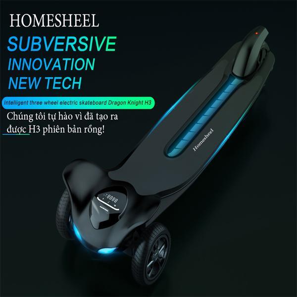 Ván điện cân bằng homesheel rồng đêm H3, skateboard homesheel h3 - USA- bảo hành 2 năm - ĐEN