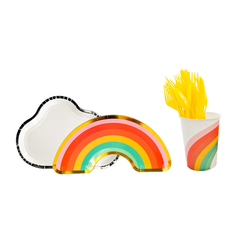 PARTYBUS 40Pcs/Set Rainbow Cloud Shape Gold Foil Disposable Tableware Plates Birthday Wedding Party Baby Shower Supplies Decoration