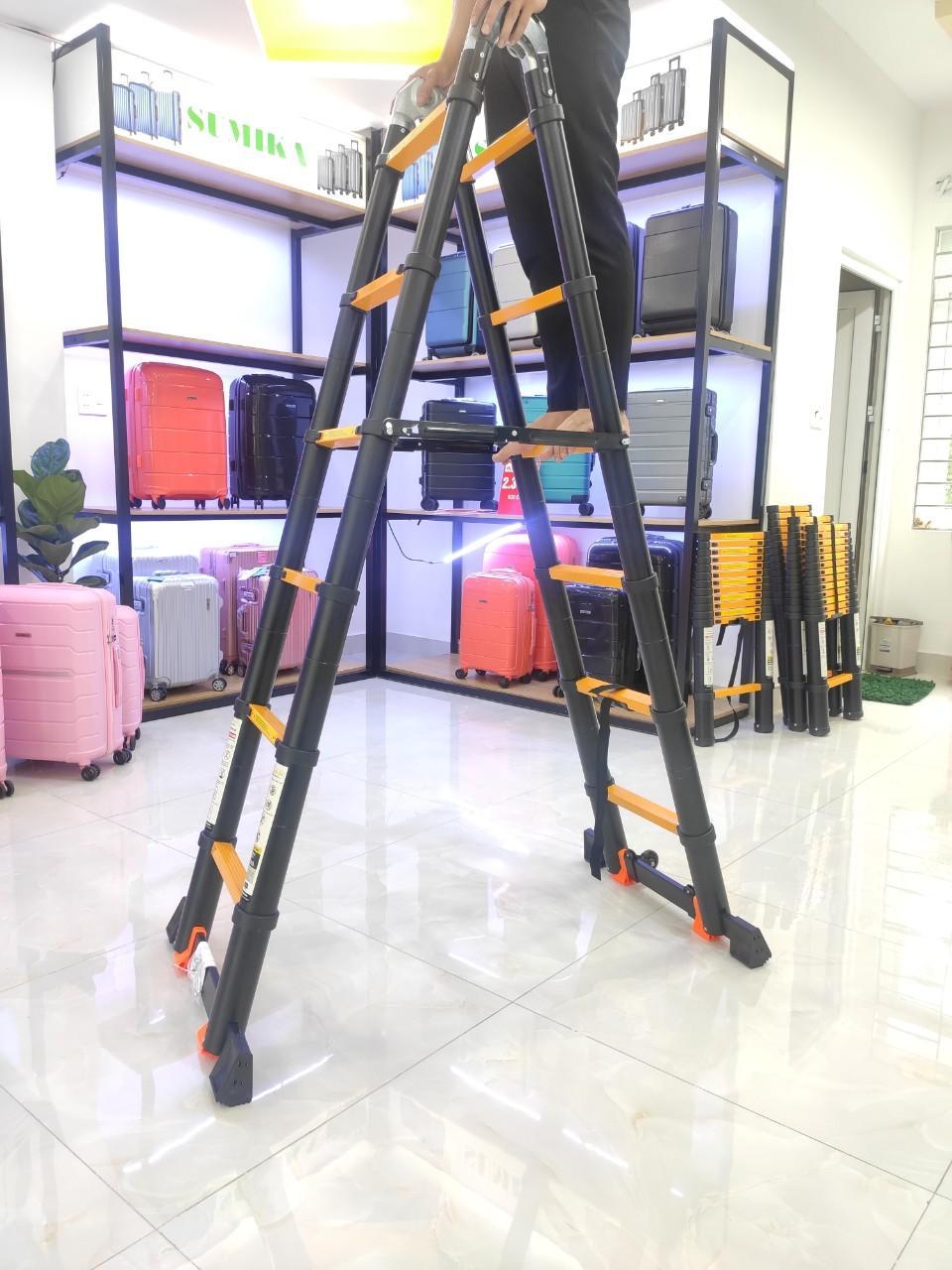 Thang nhôm rút chữ A 4m4 (2m2 + 2m2) Sumika SKS440D