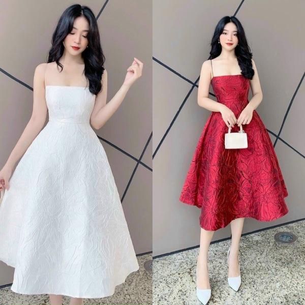 [Mẫu mới] đầm thiết kế đầm gấm 2 dây dự tiệc dạo phố cực xinh chất vải gấm loại 1 may 2 lớp