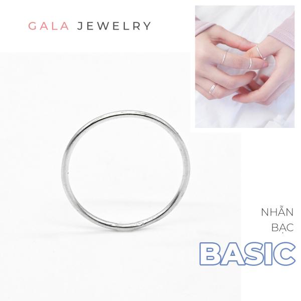 Nhẫn bạc Gala trơn NB01 kiểu dáng basic dành cho nam nữ chất liệu bạc 925 cao cấp, đơn giản, cá tính