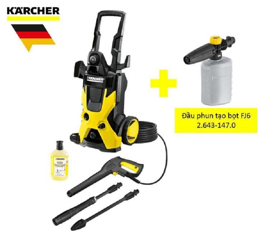Combo máy phun rửa áp lực cao Karcher, K 5 và đầu phun tạo bọt FJ6