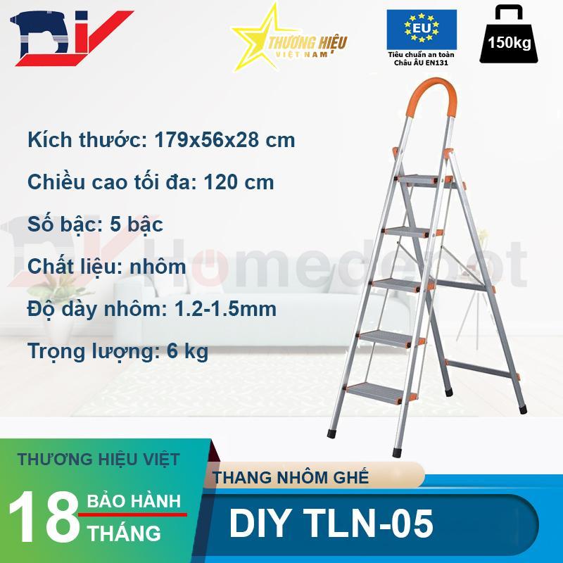 Thang nhôm ghế 5 bậc DIY TLN-05