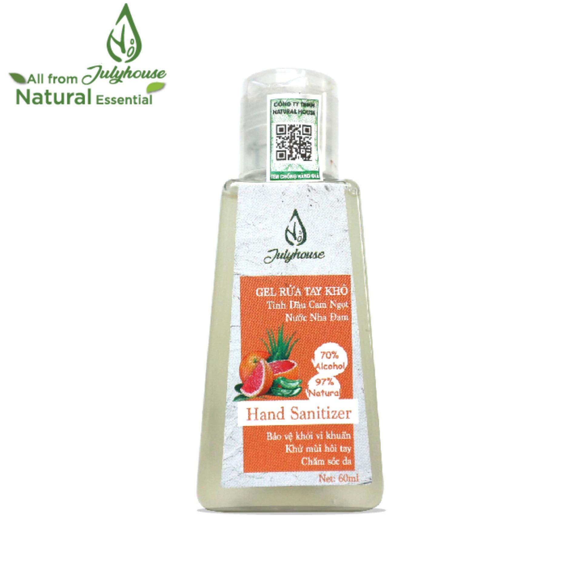 Gel rửa tay khô tinh dầu Cam và Nha Đam chai 60ml JULYHOUSE giúp cho da tay mềm mại khử mùi hôi thư giản tinh thần