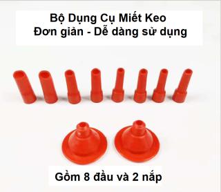 Bộ dụng cụ vuốt keo silicon, Dụng cụ chuốt keo silicon, miết keo. Bộ 8 đầu vòi đi bơm keo nhựa và 2 nắp thumbnail