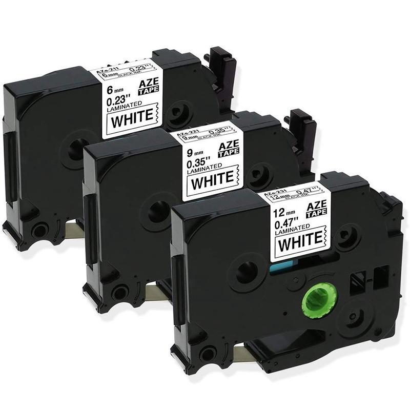 Giá 3Pcs 12mm+9mm+6mm Black TZe221 TZe211 TZe231 Tape for Brother P-Press Label Maker Printer Laminated Ribbons