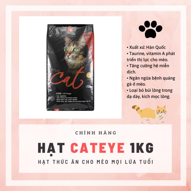 Hạt cho mèo Cateye túi 1kg cân bằng dinh dưỡng, chống búi lông hiệu quả cho mèo mọi lứa tuổi - Donald Pet Store