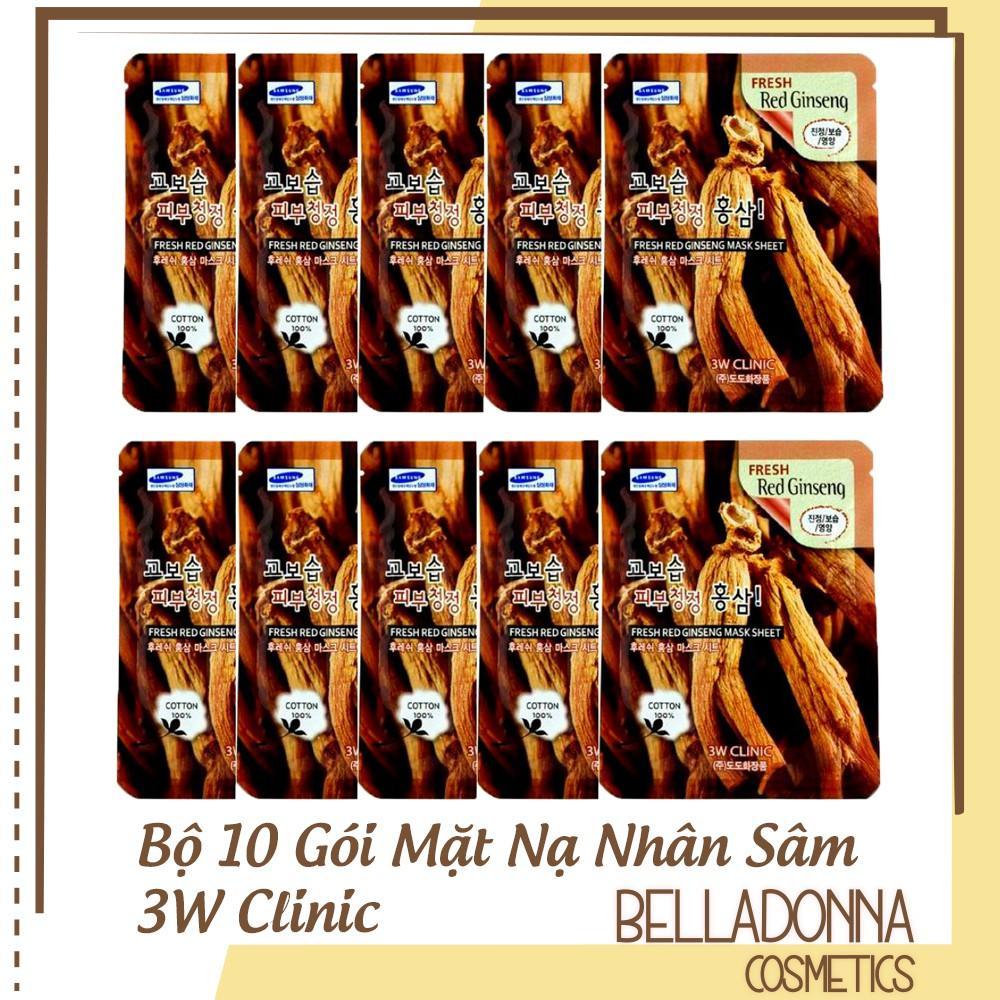 Bộ 10 gói mặt nạ dưỡng da 3W Clinic Fresh Red Ginseng Mask Sheet 23ml X 10 cao cấp