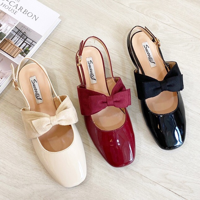 sandal nữ/ sandal da bóng nữ thắt nơ cực xinh kèm clip giá rẻ