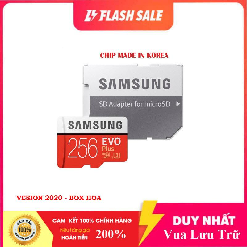 [Flash Sales] Thẻ nhớ MicroSDXC Class 10 Samsung Plus 256GB Box Hoa U3 4K R100MB/s W90 MB/s New 2020 (Đỏ) + Kèm Adapter