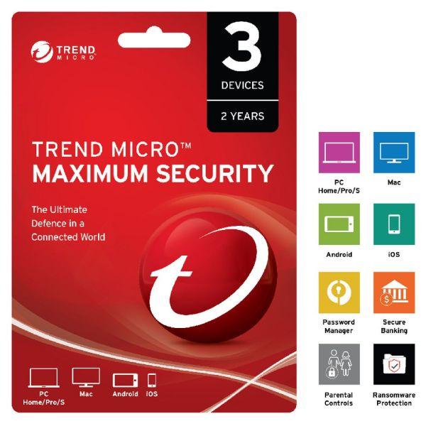 Bảng giá Trend Micro Maximum Security 3 thiết bị 1 năm Key toàn cầu Phong Vũ