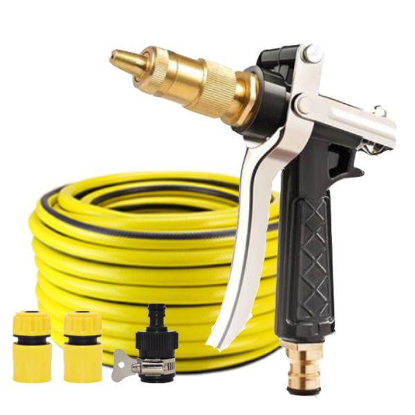 Vòi nước vòi phun nước rửa xe tưới cây tăng áp thông minh + bộ dây bơm nước 20m cao cấp TLG 236498 đầu đồng, cút, nối đen(vàng)