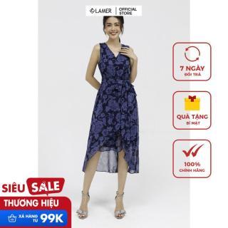 (NHẬP MÃ [LAMER2125] GIẢM 25K)Đầm maxi phủ vạt, nơ eo-Họa tiết xanh than-3XL thumbnail