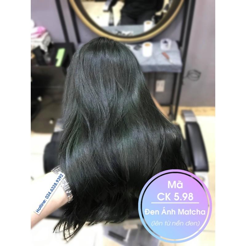 Thuốc nhuộm tóc màu đen ánh matcha (CK 5.98) KHÔNG TẨY + TẶNG kèm trợ nhuộm cao cấp