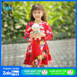 Váy cho bé gái xinh yêu, đầm dài tay cho bé gái chất liệu Cotton da cá cao cấp xuất khẩu HAKI HK486 (10-26kg); đầm xinh cho bé