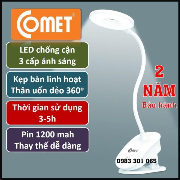 Đèn học kẹp bàn Sạc pin tích điện chống cận COMET, 3W, 3 cấp ánh sáng, thời gian hoạt động 3-5h (CT 174)