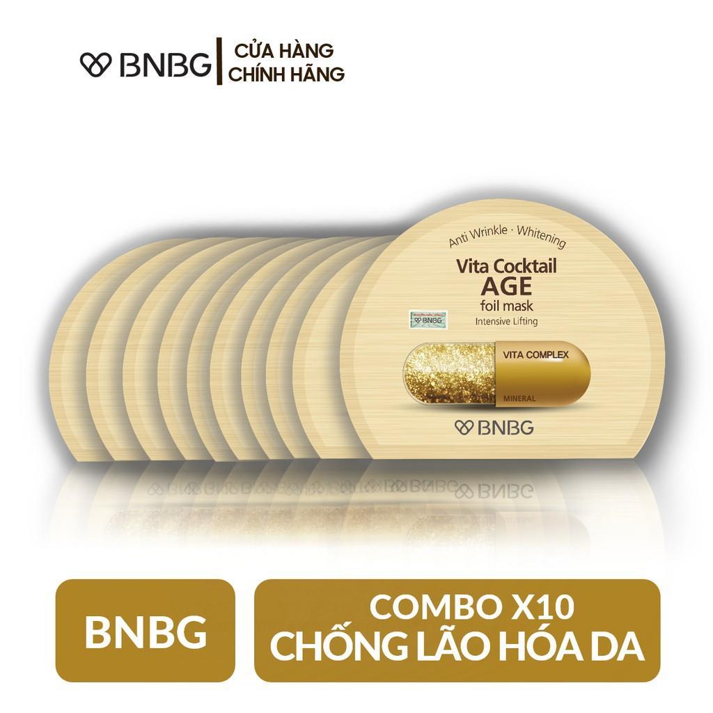 Combo 10 Mặt nạ dưỡng da giúp nâng cơ, chống lão hóa BNBG Vita Cocktail Age Foil Mask - Intensive Lifting 30ml x10