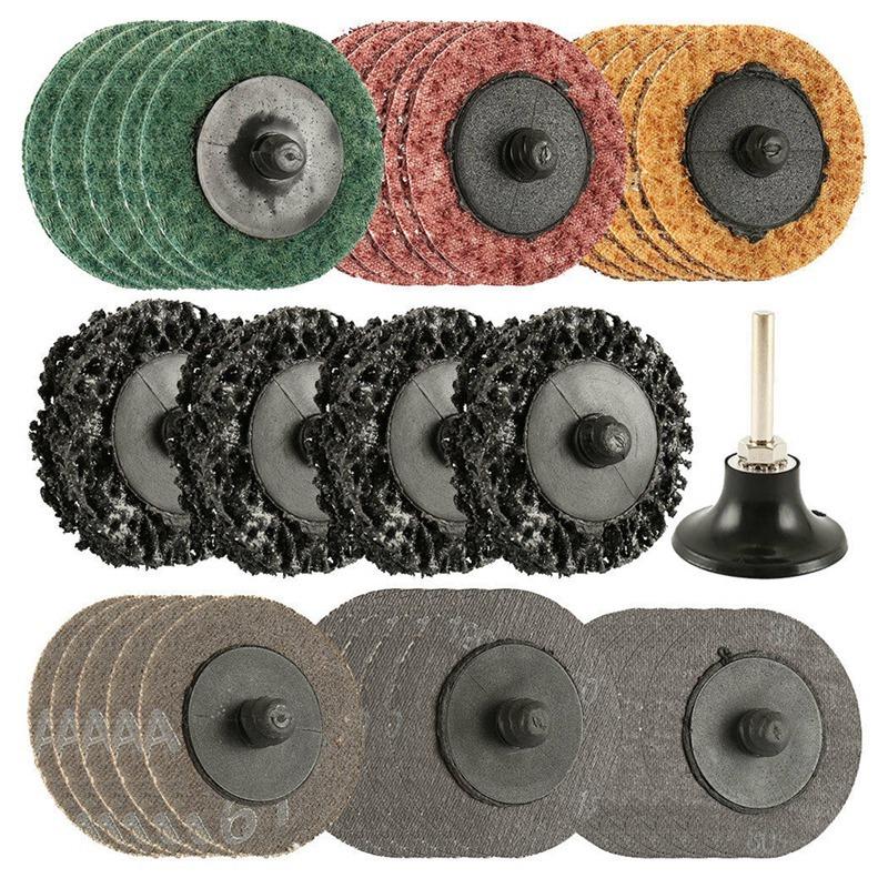35Pcs Sanding Discs Set,2 Inch Type R Roll Lock Discs Pads Sanding Roloc Abrasives
