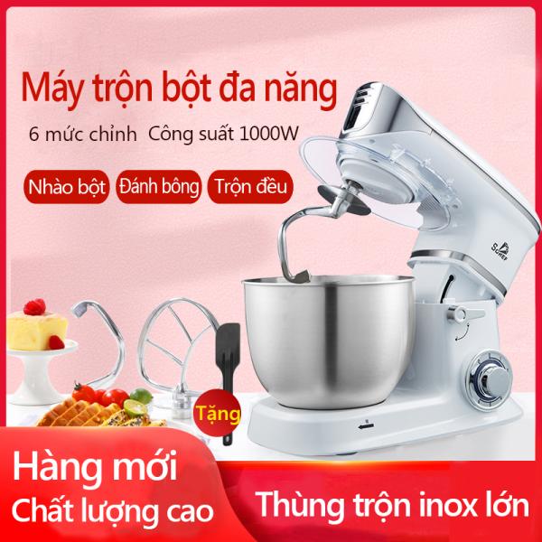 Máy trộn bột máy đánh trứng cỡ lớn đa năng bát inox 5 lít công suất 1000W máy trộn bột đánh kem làm bánh tiện dụng happy family