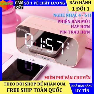 Loa Bluetooth G5 kiêm đồng hồ báo thức mặt kính trắng gương, âm bass, có mic, làm đèn ngủ, đèn led hiển thị giờ, Loa không dây bluetooth, loa bluetooth mini 3 in 1 dùng cho các loại điện thoại thumbnail