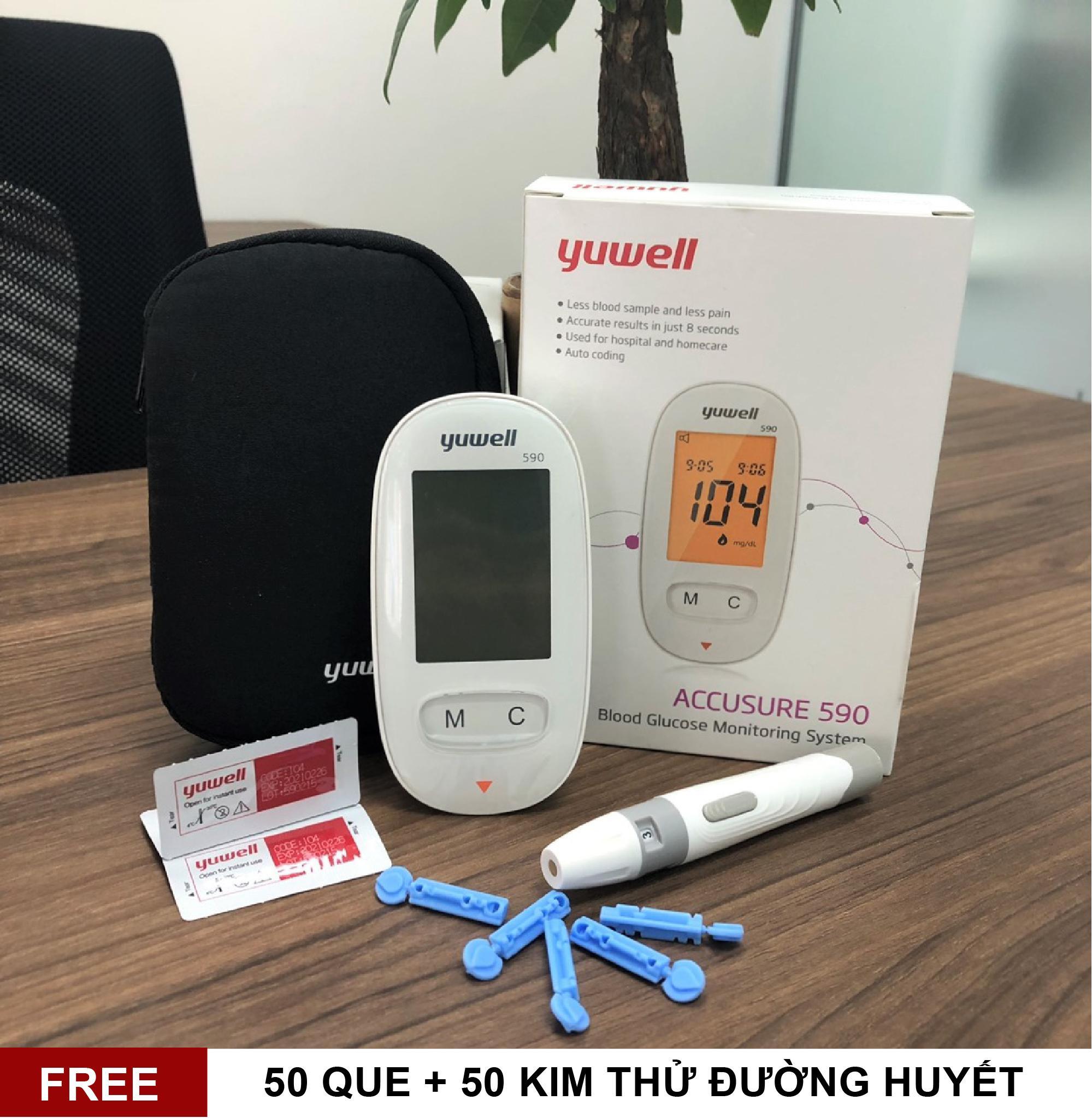 Bộ Máy đo đường huyết Yuwell 590 + 50kim, 50 que thử đường nhập khẩu