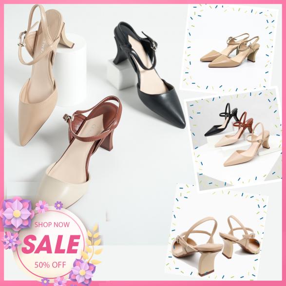 Sandal cao gót 7cm Cewra mũi nhọn quai sau trẻ trung - Dép cao gót - Dép cao gót 7 phân -Sandal cao gót nữ - Sandal 7 phân - Sandal nữ cao gót - Chất liệu mềm mại, êm chân - Hàng chuẩn xuất Nhật giá rẻ