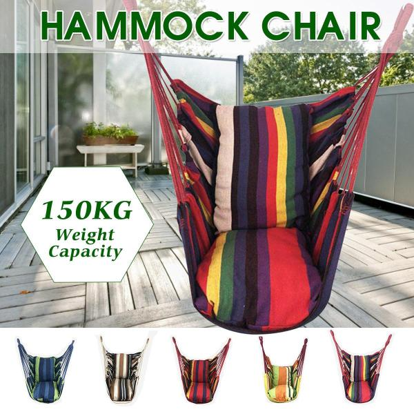 【2020 CNY Flash sale】Swing Chair Hammock Hanging Seat Rope Porch Patio Garden Indoor Outdoor Canvas -- Blue / Red / Yellow / Khaki / Colorful