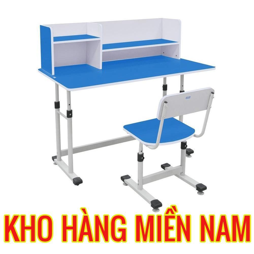 Bàn ghế học sinh cao cấp cho bé trai có giá sách hãng Xuân Hòa BHS 13-07XG màu xanh