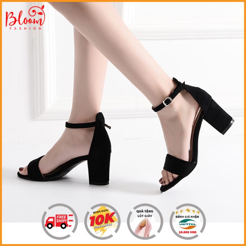 ( XẢ KHO + QUÀ TẶNG ) Giày sandal cao gót nữ 7p đế vuông quai ngang kiểu dáng basic đẹp thời trang | Size 35 | Giày cao gót Bloom giá rẻ
