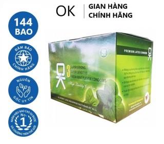 Bộ 1 hộp lớn bao cao su OKHQ bạc hà 144 cái - Mát lạnh sảng khoái thumbnail