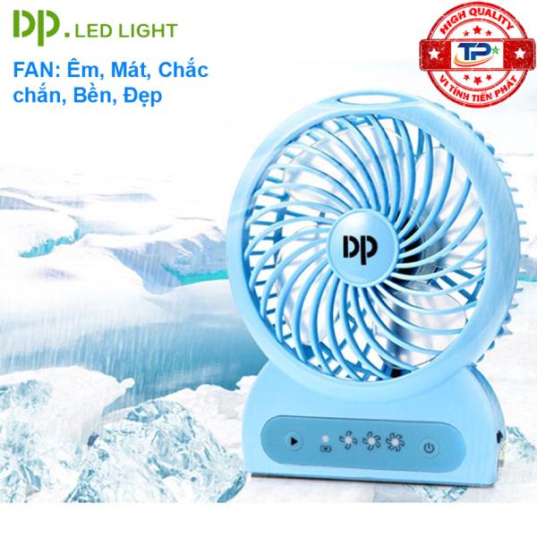 Quạt sạc tích điện mini DP DP-1423C / DP-1423B tích hợp đèn LED chiếu sáng