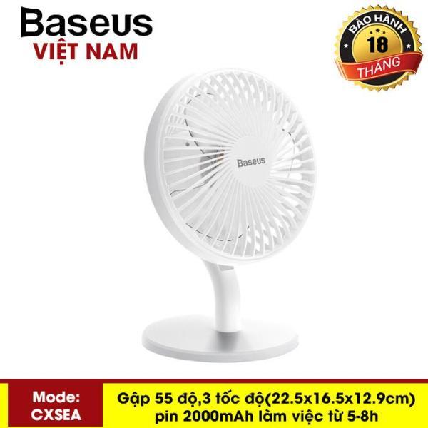 Quạt mini Quạt tích điện - quạt mini cầm tay để bàn Baseus Ocean Fan (Pin sạc 2000mAh, 4 mức tốc độ - Mini USB Rechargeable Air Cooling Fan Clip Desk Fan) - Phân phối bởi Baseus Global