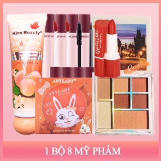[ Peachy Sis ] Trọn bộ mỹ phẩm trang điểm Peach chuẩn KISS BEAUTY+CANLEN(1xBB kem + 6 màu phấn mắt + 1x mascara + 1x Kẻ mắt + 2x son bóng + 1x son môi + 1x má hồng) thumbnail