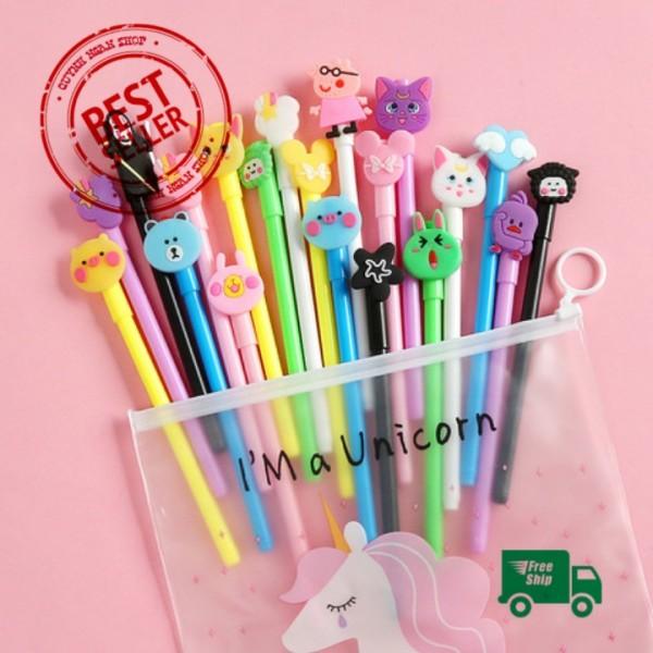 Mua Set 20 bút bi nước cute nhiều màu nhiều mẫu kèm túi