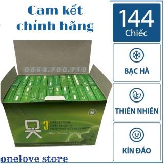 Hộp 144 chiếc bao cao su gia đình OKHQ -- hương bạc hà thơm mát - an toàn cho da - phân phối chính hãng thumbnail