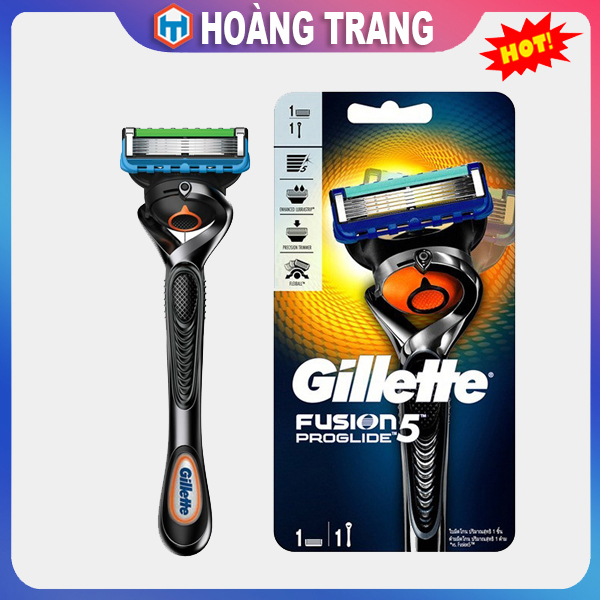 Bộ 1-1 dao cạo râu Gillette Fusion Proglide 5+1 Nhật Bản, lưỡi kép kèm chất bôi trơn cạo sát sạch không gây trầy xước