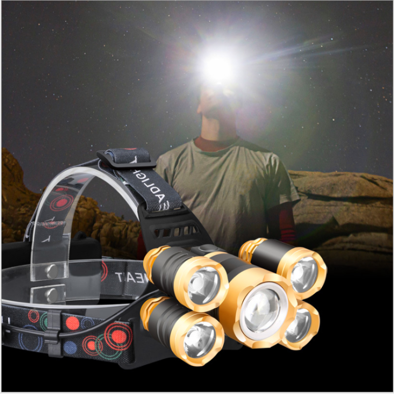 (Đèn tốt ) Đèn đội đầu 5 bóng , Đèn đội đầu siêu sáng loại tốt , tặng 2 8800mah pin và sạc