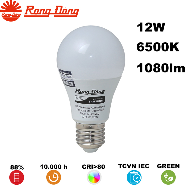 Bóng đèn LED BULB Tròn Rạng Đông A70N1 12W 1080lm 220V 6500K (Trắng)