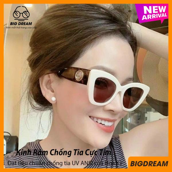 Mua Mắt kính mát nữ thời trang BDFD3098 bản to, tròng Polariezd chống tia UV - Mắt kính thời trang nữ cao cấp dáng mắt mèo - Tặng kèm hộp và khăn lau